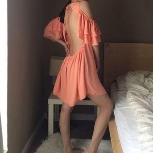 Olivaceous Tie At Back V-Neck Silky Dress